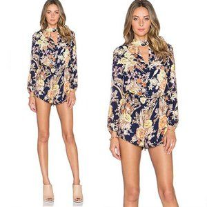 Lucca Couture Keyhole Long Sleeve Floral Romper S
